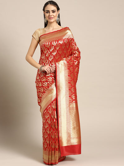 Chhabra 555 Kanjiwaram inspired silk saree with intricate zari weaving in a floral pattern
