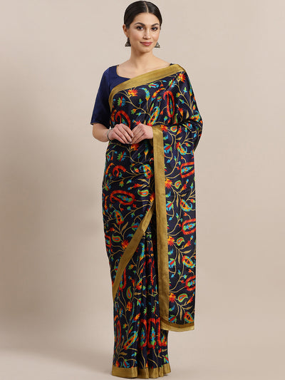 Chhabra 555 French Crepe SIlk printed Saree with Ethnic Paisley multicolor Digital design