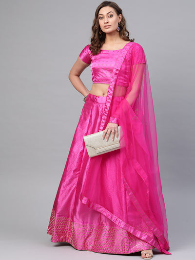 Chhabra 555 Pink Satin Silk Semi-stitched Lehenga set with Intricate crystal embroidery in floral motifs