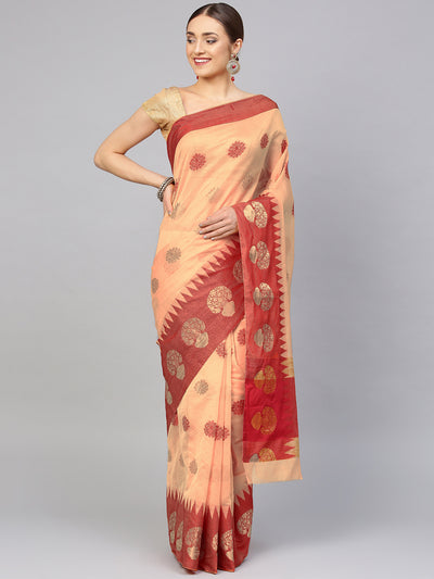 Chhabra 555 Beige Chanderi Banarasi saree with Contrast Red border and Floral ethnic motifs