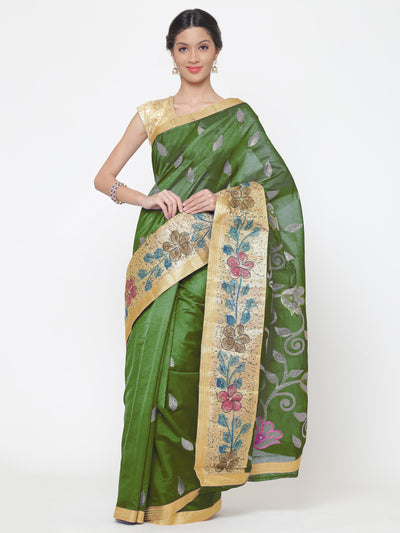 Chhabra 555 Chanderi green Cotton Silk saree with multicolor Resham and zari embroidery to make beautiful tulip floral motifs