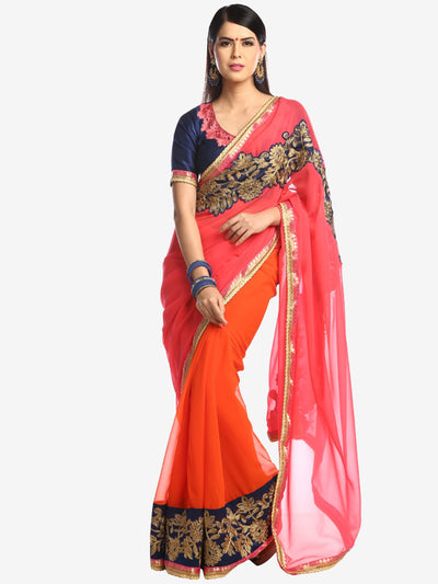 Chhabra 555 Orange pink Half-and-half embroidered saree with applique cutwork pattern on pallu