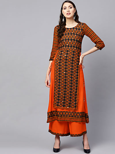 Chhabra 555 Orange Printed Layered Kurta Set with Mirror Embellishments and side tassles