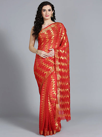 Chhabra 555 khaddi georgette red saree with geometric handloom weaving pattern