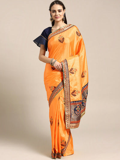Chhabra 555 Georgette Saree with Paithani brocade border with peacock and bird motifs