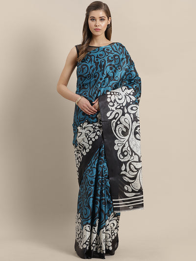 Chhabra 555 French Tussar Silk printed Saree with Goemetrical Colorblocking Digital design