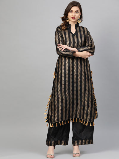Chhabra 555 Made to Measure Kurta Pallazo Set With Gold Foil Print and tassled fringed hemline