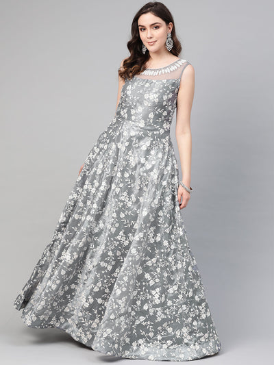 Chhabra 555 Grey Cocktail Gown with Pearl Crystal embroidered neckline and floral foil print and dupatta