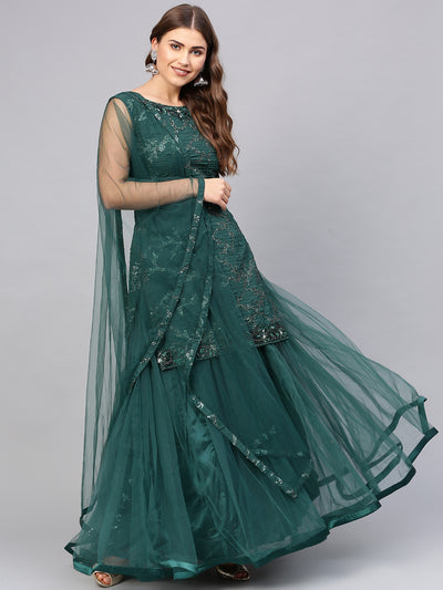 Chhabra 555 Made-to-Measure Green Long Kurta Lehenga Set with Crystal Textured Embellishments and Layered Skirt