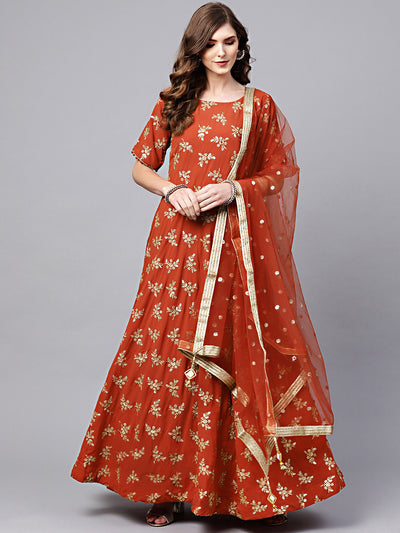 Chhabra 555 Orange Georgette floor length Anarkali Gowna and dupatta with Zari Sequin Embroidery