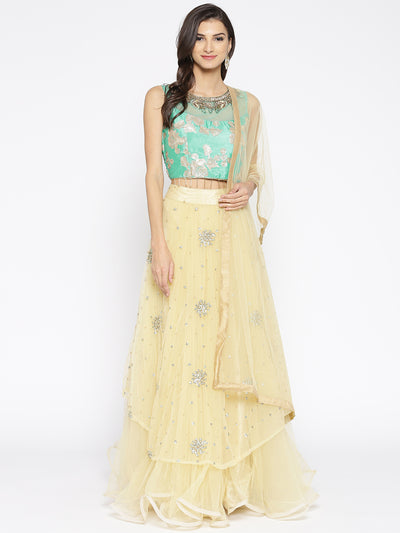 Chhabra 555 Rama Green and Golden Net Embellished Crop top Lehanga With Gotta Patti and Beautiful Thread Work and Nakshi work Choli with Dupatta