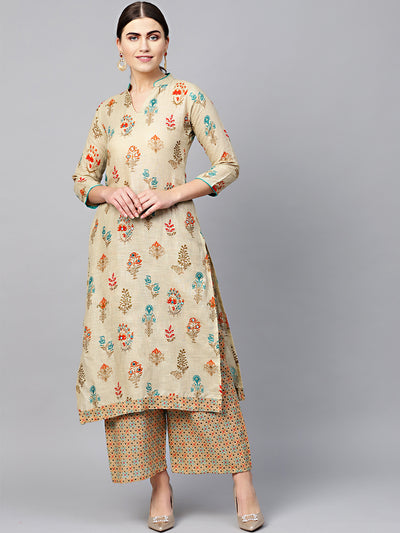 Chhabra 555 Made to Measure Beige Batik Style Kurta With printed pallazos and pearl embellishments