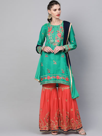Chhabra 555 Made to Measure Embellished Kurta Sharara Set With Zari, Resham embroidery in a Floral pattern