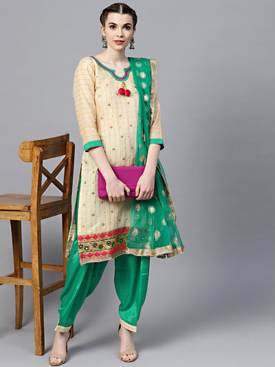 Chhabra 555 Chanderi Made-to-Measure Kurta Set with Crystal Embellishements and Embroidered Dupatta