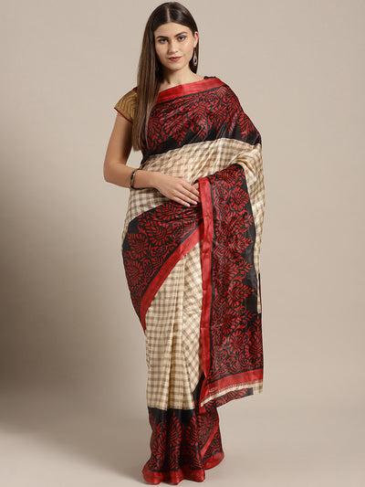 Chhabra 555 Beige Printed Checked Bhagalpuri Saree with Floral motifs in contrast Red Color
