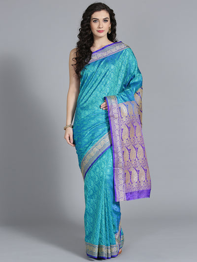 Chhabra 555 Two-toned Banarasi Silk Saree with Banarasi and Paisley patten woven though the Saree