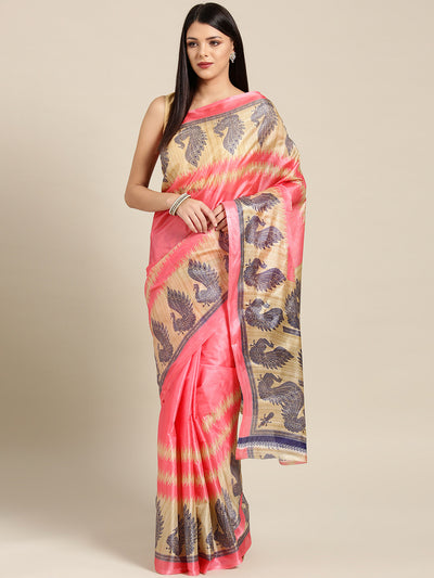 Chhabra 555 Pink Printed Bhagalpuri Saree with Tradiational Patola Peacock patterns