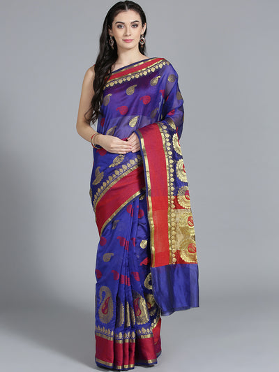 Chhabra 555 Silk Navy Blue with Zari embroidery and Beautiful Paisley Pattern Design Saree
