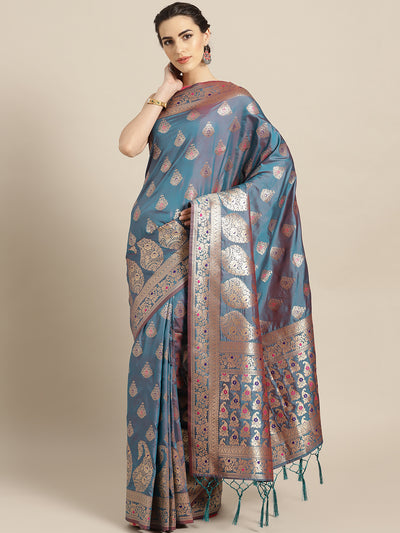 Chhabra 555 Turquoise Gold Banarasi Handloom Silk Saree with Floral Meenakari pattern and Jhalar