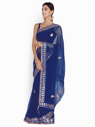 Chhabra 555 Blue Chiffon Gotta Patti Work Embellished Party Wear Saree