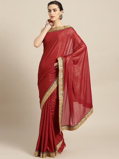 Chhabra 555 Maroon Stretch georgette Saree with Pearl and Crystal Embellished border