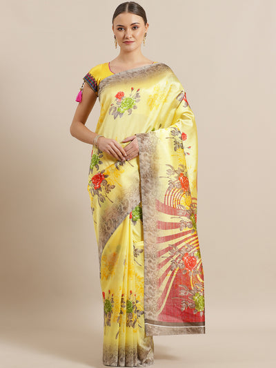Chhabra 555 Yellow Bhagalpuri Silk Saree with Floral Roses Digital Pattern and contrast Grey Blouse