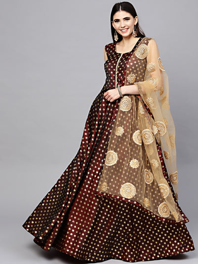 Chhabra 555 Maroon Embellished Foil Print Kurta Dress with Gold Embroidered Dupatta