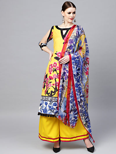 Chhabra 555 Yellow Floral Printed Crepe Made-to-Measure Kurta Set with Chiffon Dupatta