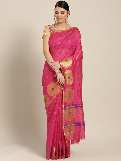 Chhabra 555 Pink Chanderi Silk saree with Zari and Meenakari weaving in a floral pattern