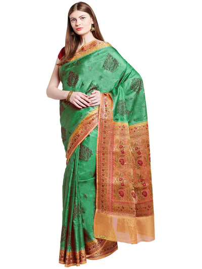Chhabra 555 Green and Rust Coloured Tussar Silk Embroidered Saree