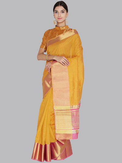 Chhabra 555 Mustard and Pink Woven Design Banarasi Silk Saree