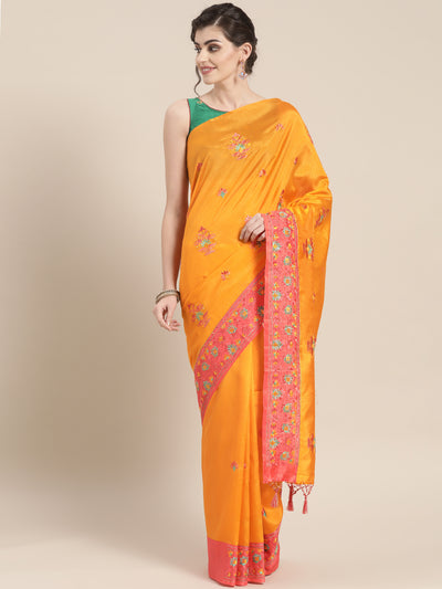 Chhabra 555 Tussar Banarasi Silk saree with Katha embroidery and multicolor thread Contrast Border