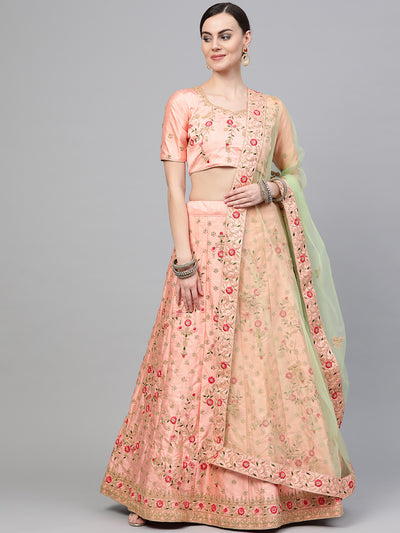 Chhabra 555 Rose Silk Semi-stitched Lehenga Set with Kasab, Zari and Resham floral embroidery