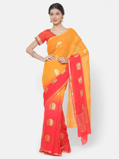 Chhabra 555 Mysore Georgette Orange to Red ombre dyed saree with floral weaved motifs