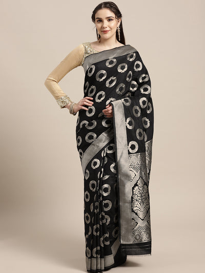 Chhabra 555 Mysore silk saree with jewelery inspired paisley motifs woven in silver zari