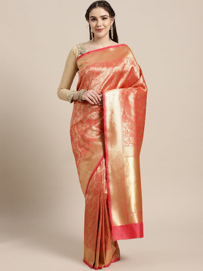 Chhabra 555 Kanjiwaram inspired silk saree with intricate zari weaving in a stylish paisley pattern