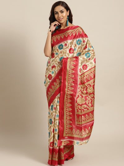 Chhabra 555 Beige Printed Bhagalpuri Saree with Vibrant contrast Floral motifs