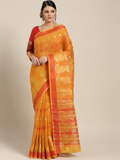 Chhabra 555 Yellow Chanderi Silk saree with Zari and Resham weaving in a floral pattern