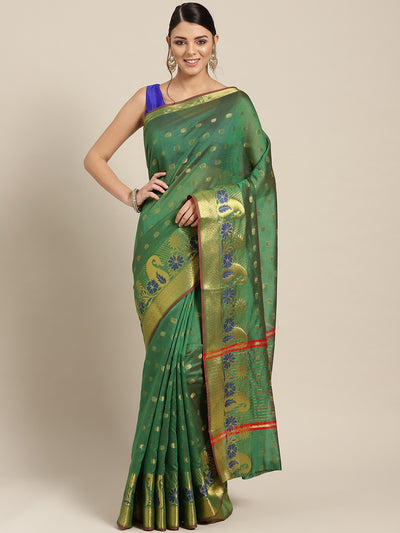 Chhabra 555 Green Chanderi Silk saree with Zari and Meenakari weaving in a paisley pattern