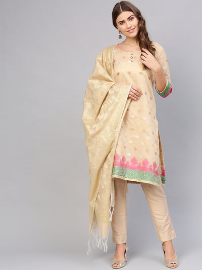Chhabra 555 Beige Made-to-Measure Kurta Set with Banarasi Handloom dupatta and Pants