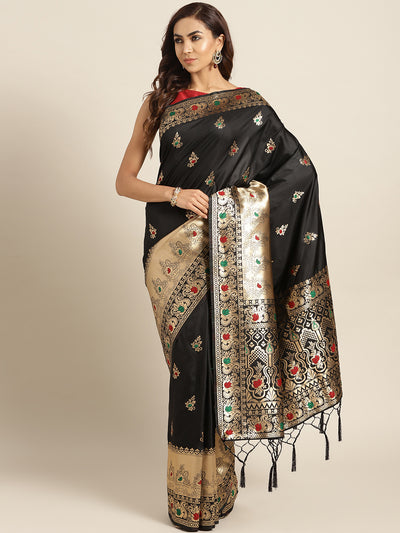 Chhabra 555 Black Banarasi Handloom Silk Saree with Floral Meenakari pattern and Jhalar