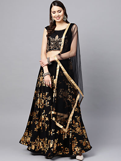 Chhabra 555 Made-to-Measure Crop Top Lehenga Set with Zircon Embroidery and Floral Gold Print