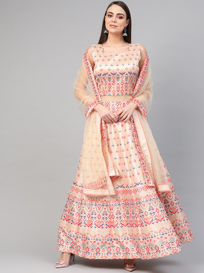 Chhabra 555 Made-to-Measure Light Pink Anarkali Cocktail Gown with Crystal Embellishments and Ikat Inspired Tribal pattern