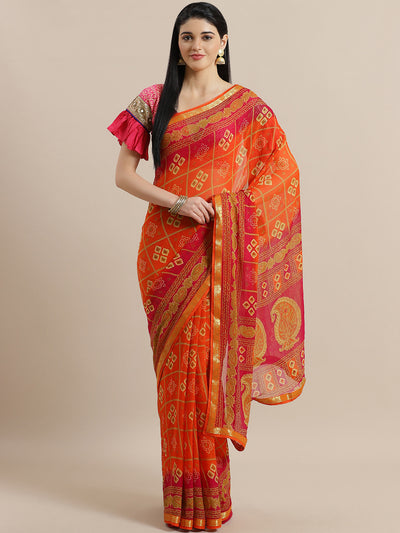 Chhabra 555 Gharchola Inspired Georgette saree with Ethnic Paisley Motifs & Banarasi Brocade Border