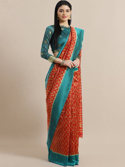 Chhabra 555 Ikat Inspired Red Bhagalpuri Silk Digital Printed Saree with Colorblock Teal Border
