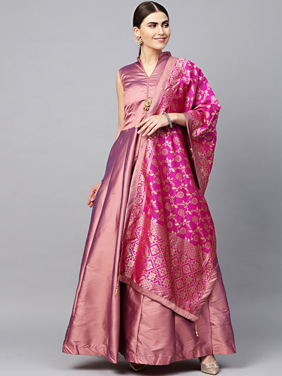 IESB3287 Silk Anarkali Kurta Gown with Banarasi Dupatta