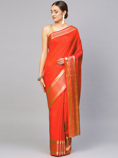 Chhabra 555 Coral Satin Silk Saree with zari woven striped pattern and contrast Brocade blouse