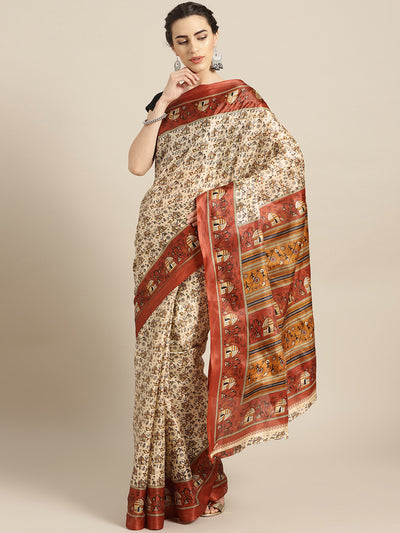 Chhabra 555 Beige Printed Bhagalpuri Saree with Tribal, Animal and Stick figure motifs