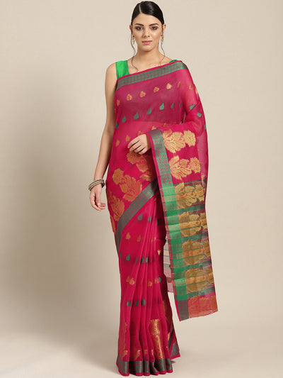 Chhabra 555 Pink Chanderi Silk saree with Zari and Resham weaving in a floral pattern