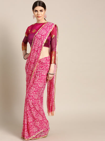 Chhabra 555 Pink Chiffon saree with Zari border and Floral all-over print